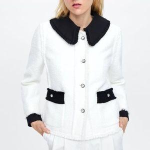 Zara Contrasting Tweed Jacket Rhinestone Buttons